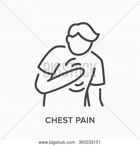 Heartbrake Line Icon. Vector Outline Illustration Showing Person With Pain In The Chest. Image Illus