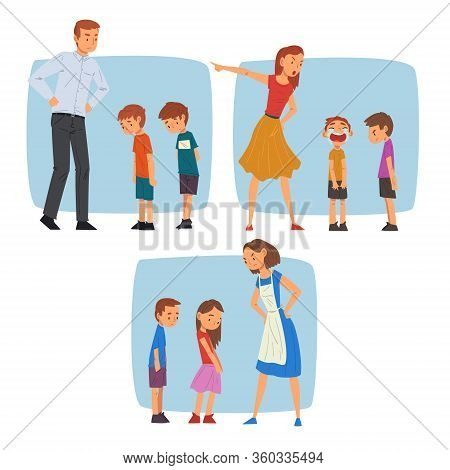 Parents Scolding Naughty Boys Set, Mothers And Fathers Chastening Children For Bad Behavior Vector I