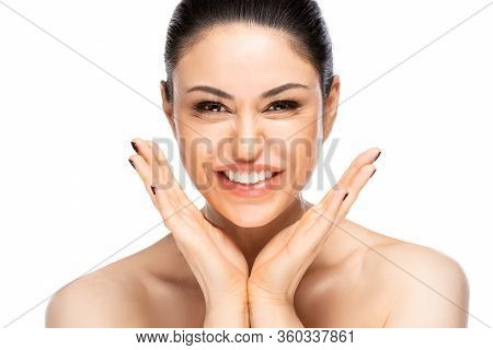 Cheerful Beautiful Woman Face Portrait Close Up. Beauty Skin Care Concept. Isolated On White Backgro