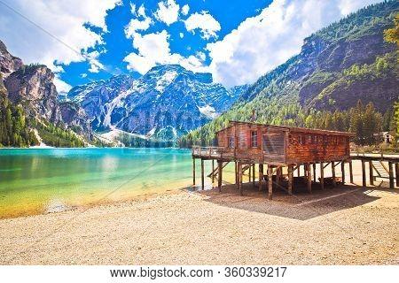 Braies Lake In Dolomite Apls Idyllic Landscape View, South Tyrol Region Of Italy