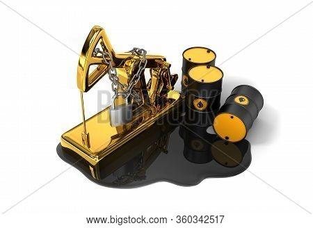 Locked Pumpjack, Barrels And Spilled Oil On White Background. 3d Illustration.