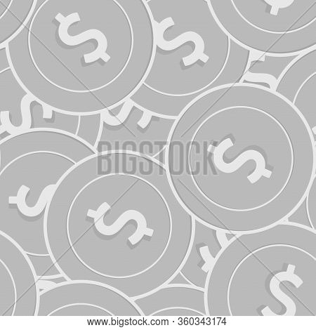 American Dollar Silver Coins Seamless Pattern. Beautiful Scattered Black And White Usd Coins. Succes