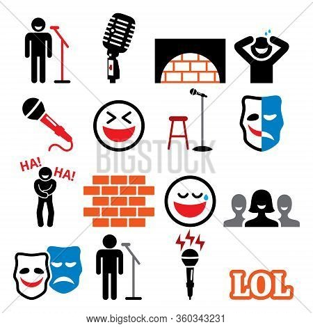 Stand Up Comedy, Entertainment, Comedians And People Laughing Vector Icons Set