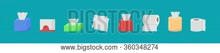 Cute Cartoon Fabric Paper Set, Roll Box, Use For Toilet, Kitchen In Flat Design. Hygienic Products.