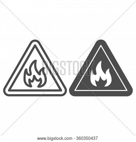 Triangle With Fire Symbol Line And Solid Icon. Flammable Caution Sign Outline Style Pictogram On Whi