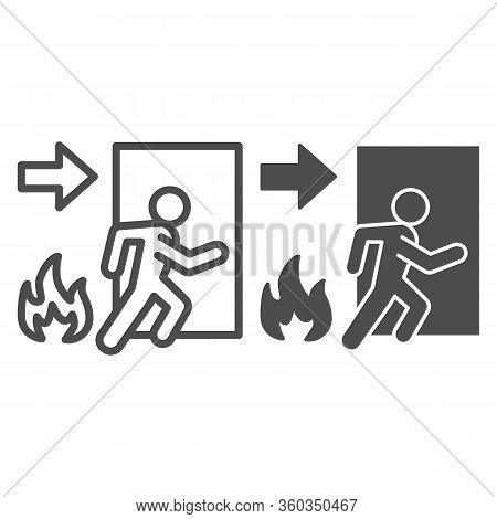 Fire Exit Line And Solid Icon. Emergency Evacuation Outline Style Pictogram On White Background. Fla