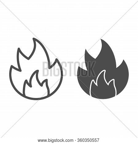 Symbol Of Fire Line And Solid Icon. Flammable Caution Sign Outline Style Pictogram On White Backgrou