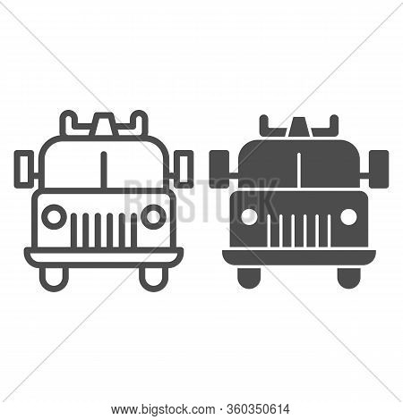 Firefighting Vehicle Line And Solid Icon. Emergency Service Fire Truck Outline Style Pictogram On Wh