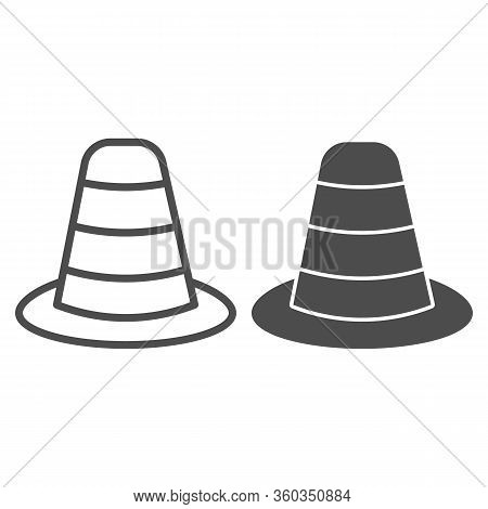 Cone Divider On The Road Line And Solid Icon. Traffic Cone Outline Style Pictogram On White Backgrou