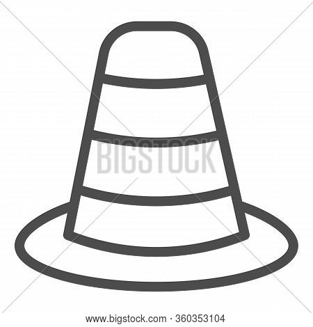 Cone Divider On The Road Line Icon. Traffic Cone Outline Style Pictogram On White Background. Emerge