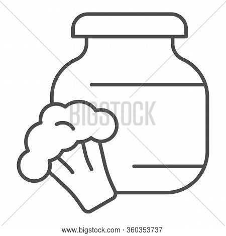 Stewed Cabbage And Broccoli Thin Line Icon. Glass Canned Jar And Cabbage Outline Style Pictogram On
