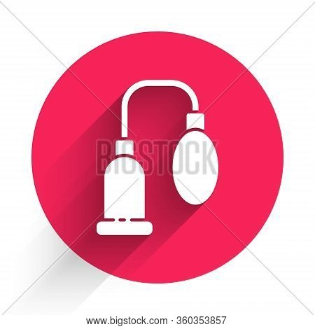 White Penis Pump Icon Isolated With Long Shadow. Penis Enlarger. Sex Toy For Men. Vacuum Pump With A