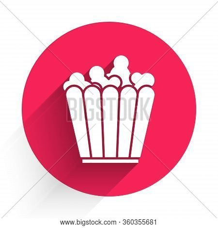 White Popcorn In Cardboard Box Icon Isolated With Long Shadow. Popcorn Bucket Box. Red Circle Button