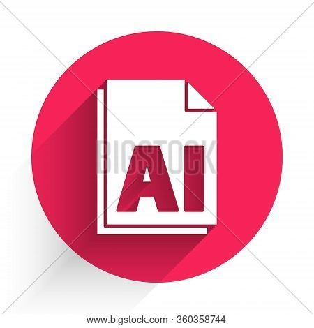 White Ai File Document. Download Ai Button Icon Isolated With Long Shadow. Ai File Symbol. Red Circl