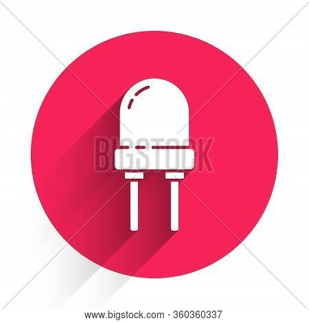 White Light Emitting Diode Icon Isolated With Long Shadow. Semiconductor Diode Electrical Component.
