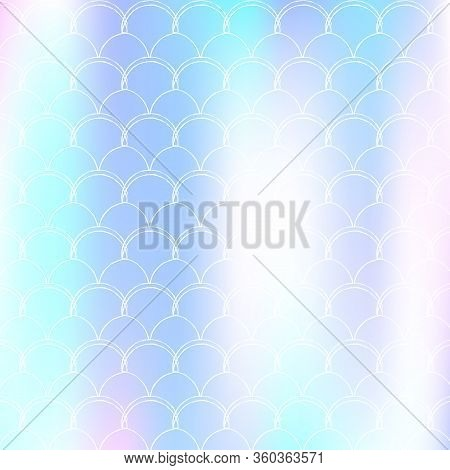 Mermaid Scales Background With Holographic Gradient. Bright Color Transitions. Fish Tail Banner And