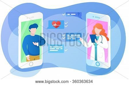 Online Doctor App Interface, Sick Man Asking Therapist About Hearth Problem, Remote Medical Consulta