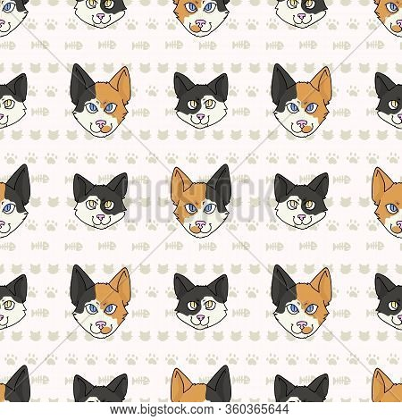 Cute Cartoon Japanese Bobtail Cat And Kitten Face Seamless Vector Pattern. Pedigree Kitty Breed Dome