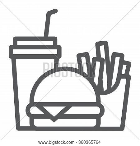 Burger Fries And Soda Line Icon, Fast Food And Delivery, Combo Lunch Sign, Vector Graphics, A Linear