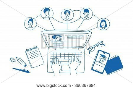 Learning Online, E-learning, Connection With Different People. Distance Education