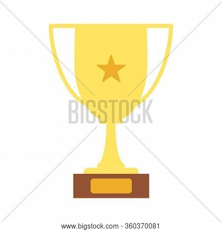 Winner's Trophy Icon. The Golden Trophy Vector Is A Symbol Of Victory In A Sports Event As Football,