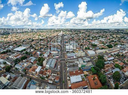 Aerial View Of The Avenida Eduardo Elias Zahran Avenue At Campo Grande Ms, Brazil. Long Two-way Aven