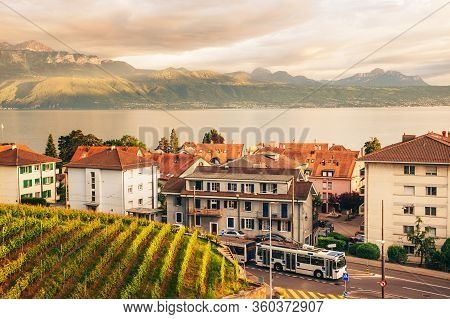 Small Town Situated Between Lake Geneva And Lavaux Vineyards, Lausanne Region, Canton Of Vaud, Switz