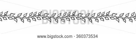 Hand Drawn Floral Vector Seamless Border Or Divider. Black Simple Graphic Isolated On White Backroun
