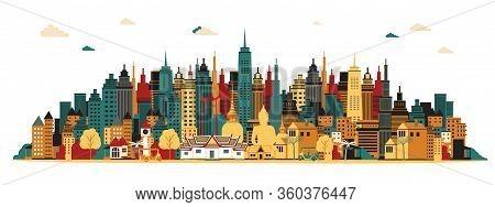 Bangkok City. Amazing Thailand. Vector Illustration, Travel,
