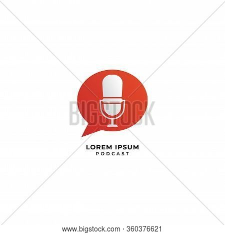 Minimal Podcast Logo Design Concept. Microphone Illustration With Orange Call Out Shape Or Chatting