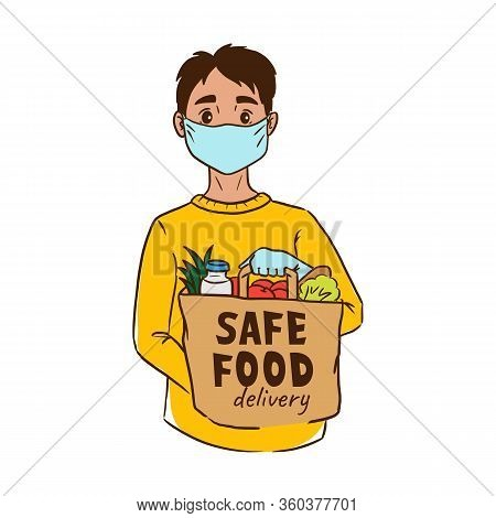 Safe Contactless Food Delivery Service Concept, Boy Courier In Mask Holding Paper Package With Groce