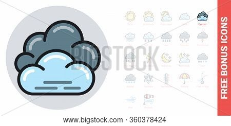 Overcast, Cloudiness Or Nebulosity Icon For Weather Forecast Application Or Widget. Clouds Close Up.