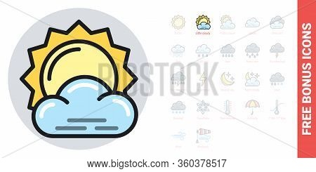Little Cloudy Or Partly Cloudy Icon For Weather Forecast Application Or Widget. Sun Behind A Small C