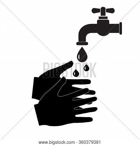 Hand Washing With Soap Icon On White Background. Flat Style. Wash Your Hands Icon For Your Web Site