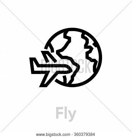 Fly Globe Earth Icon. Editable Line Vector.