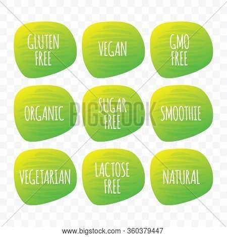 Organic Vegan Vegetarian Natural Smoothie Gluten Sugar Lactose Gmo Free Green Gradient Vector Icon.