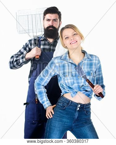 Cooking Together. Essential Barbecue Dishes. Bearded Hipster And Girl Hold Cooking Grilling Utensils