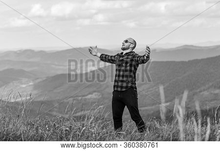 Here I Am. Cowboy In Hat Outdoor. Man On Mountain Landscape. Camping And Hiking. Sexy Macho Man In C