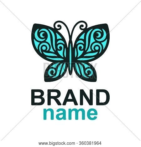 Logo Beautiful Blue Openwork Butterfly With A Dark Outline On A White Background. Icon, Sign, Symbol