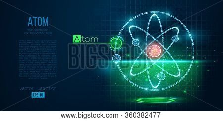 Abstract Silhouette Of The Polygonal Atoms On Blue Background. Scanning, Research, Study Atoms Of Th