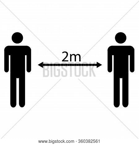 Social Distancing Icon On White Background. Flat Style. 2 Meters Distance Between Humans. Keep Dista