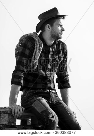 Thoughtful Farmer Thinking About Business. Ranch Worker. Eco Farm. Farming Concept. Handsome Man In
