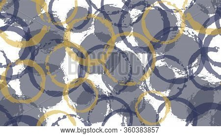 Allover Painted Circle Stamps Textile Print. Round Shape Spot Overlapping Elements Vector Seamless P