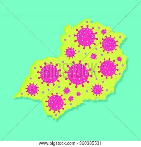 Map Of Southeast Of Brazil With Virus. Coronavirus Epidemic In Brazilian Region. Conceptual.