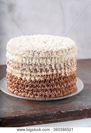 Stylish Birthday Buttercream Cake With With Piping Decoration. Vertical Composition. Copy Space. Swe