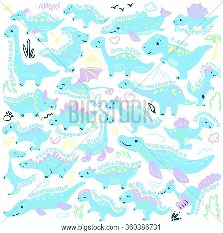 Cute Dinosaur Set With Species Name Lettering. Pastel Color Vector Illustration On White Background.