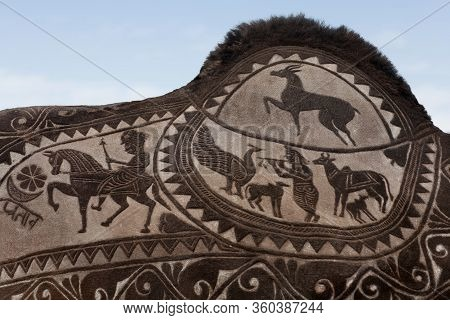 Beautiful Decorated Camel Close Up On Bikaner Camel Festival In Rajasthan, India