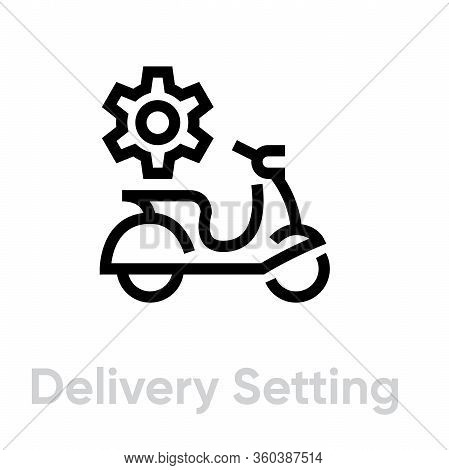Delivery Setting Bike Icon. Editable Line Vector.