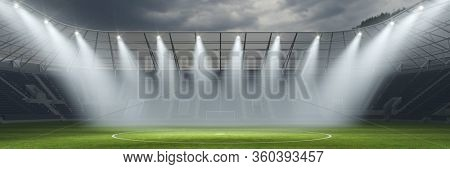 Empty soccer stadium due to postponed 2020 championship in the world (3D Rendering)