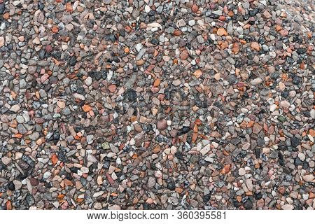 Gravel Texture For Your Design. Crushed Multicolored Rubble And Stones, Granite Chips In Road Surfac